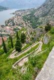 De baai van Kotor-baai is één van de mooiste plaatsen op Adriatische Overzees stock afbeelding