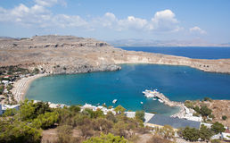De Baai van Lindos, Rhodos, Griekenland Stock Foto