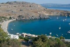 De baai van Lindos vanaf de bovenkant Royalty-vrije Stock Fotografie