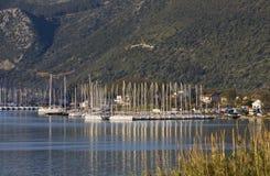 De baai van Nydri in Lefkada, Griekenland Stock Foto's