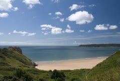 De baai van Oxwich - schiereiland Gower. Wales Stock Fotografie