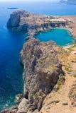 De baai van Pavlos van de Agio's van Lindos, Rhodos Stock Afbeeldingen