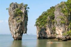 De Baai van Phangnga, James Bond Island in Thailand Stock Foto's