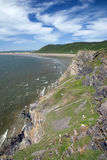 De baai van Rhossili - Schiereiland Gower. Wales Royalty-vrije Stock Afbeeldingen