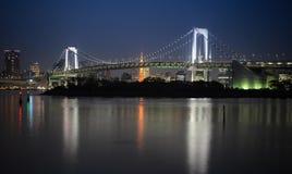 De Baai van Tokyo bij Regenboogbrug Stock Fotografie