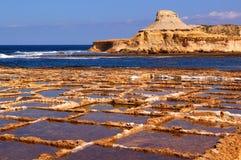 De baai van Xwejni van Salinetworks, Eiland Gozo Stock Foto