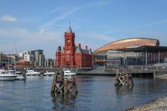 De Baaicityscape Cardiff Wales van Cardiff stock fotografie