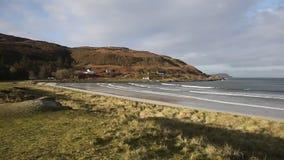 De Baaieiland van Calgary van Mull Argyll en Schotse Binnenhebrides mooie de lentedag van Bute Schotland het UK stock footage