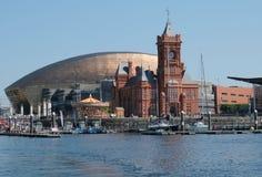 De Baaihorizon van Cardiff, uit het water wordt genomen, die het Millenniumcentrum, Pierhead-de Bouw en andere gebouwen op de hav royalty-vrije stock fotografie