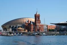 De Baaihorizon van Cardiff, uit het water wordt genomen, die het Millenniumcentrum, Pierhead-de Bouw en andere gebouwen op de hav stock foto