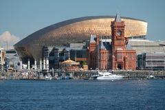 De Baaihorizon van Cardiff, uit het water wordt genomen, die het Millenniumcentrum, Pierhead-de Bouw en andere gebouwen op de hav stock foto's