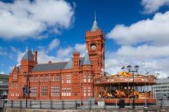 De baaiontwikkeling van Cardiff en de pijler hoofdbouw Royalty-vrije Stock Foto's