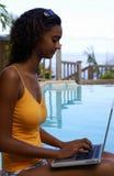 De baan van de computer bij pool 3 royalty-vrije stock foto's
