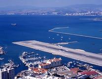 De baan van de luchthaven, Gibraltar. Royalty-vrije Stock Foto