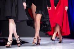 De baan van de manierloopbrug toont vrouwelijke modellen stock afbeelding
