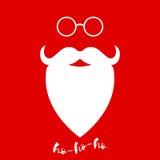 De baard en de glazen van de Kerstman Malplaatje voor de kaart van de Kerstmisgroet Het kan voor prestaties van het ontwerpwerk n Royalty-vrije Stock Foto