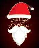 De baard van de kerstman met Vrolijke Kerstmis Royalty-vrije Stock Fotografie