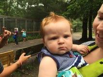 De baby bedoelt rood hoofd Stock Foto's