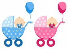 De baby in de wandelwagen, jongen, meisje, ballon Royalty-vrije Stock Foto's