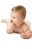 De baby die op een vloer legt Royalty-vrije Stock Afbeeldingen