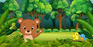De baby draagt in het Bos vector illustratie