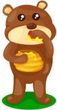 De baby draagt met pot van honing Stock Afbeeldingen