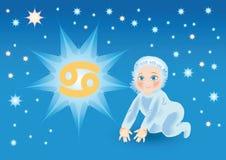 De baby draagt onder een teken dierenriemKanker Stock Illustratie