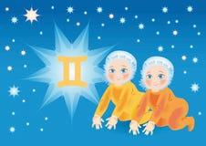 De baby draagt onder een teken een dierenriem Tweeling Stock Illustratie