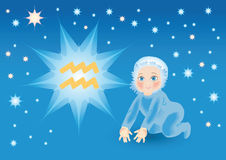 De baby draagt onder een teken een dierenriem Waterman Royalty-vrije Illustratie