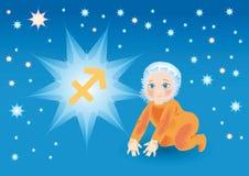 De baby draagt onder een teken een dierenriemBoogschutter Vector Illustratie