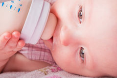 De baby drinkt melk van een kleine fles Stock Foto's
