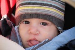 De baby is in een drager Stock Foto's