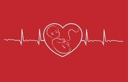 De baby en het hart slaan Stock Fotografie