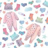 De baby kleedt illustraties in een naadloos patroon Geschilderd in waterverf stock foto's