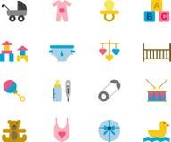 De BABY kleurde vlakke pictogrammen royalty-vrije illustratie