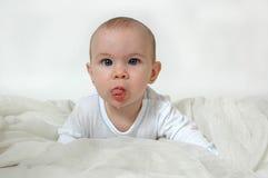 De baby kwijlt royalty-vrije stock afbeelding