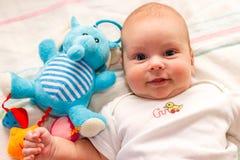 De baby ligt met stuk speelgoed blauwe olifant Royalty-vrije Stock Foto