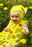 De baby op het gebied van paardebloemen Stock Fotografie