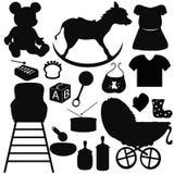De baby silhouetteert punten Stock Foto's