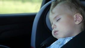 De baby slaapt in de auto op de manier stock footage