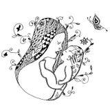 De baby van de moederholding, tekening uit de vrije hand, werveling, bloemen, vlinder Royalty-vrije Stock Fotografie