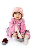 De baby van de schoonheid met bonnet Stock Fotografie