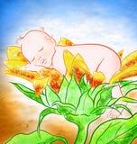 De baby van de slaap in bloem Royalty-vrije Stock Foto