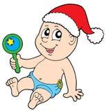 De baby van Kerstmis met rammelaar Stock Foto's
