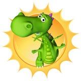 De babydraak van Dino de zon Stock Foto