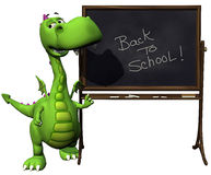 De babydraak van Dino groen terug naar schoolspatie Stock Foto