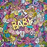 De Babyillustratie van de beeldverhaal vectorhand getrokken Krabbel stock illustratie