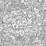 De Babyillustratie van de beeldverhaal vectorhand getrokken Krabbel royalty-vrije illustratie