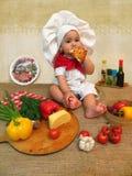 De babyjongen kleedde zich als kok Stock Fotografie