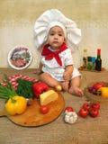 De babyjongen kleedde zich als kok Royalty-vrije Stock Fotografie